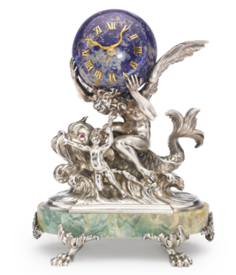 A Russian Silver and Carved Hardstone Figural Mantel Clock, Konstantin Linke for Bolin, Moscow, 1899-1908 Sotheby's